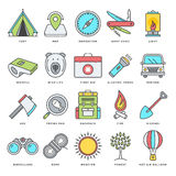 Camping and Outdoor Activities Flat Line Icon Set. Abstract vector set of line color icons for hiking, camping and outdoor activities. Modern style illustrations Royalty Free Stock Image