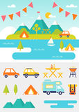Camping and Outdoor Activities Summer Scene and Elements Stock Image
