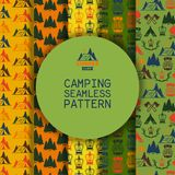 Camping outdoor activities vector illustration. Camping scene - caravan, camping chairs, fire place, rugs, trees, birds. Set of seamless patterns. Spending time stock illustration