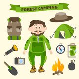 Camping and outdoor activity tourism elements Stock Images