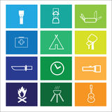 Camping outdoor adventure icons windows Royalty Free Stock Photos