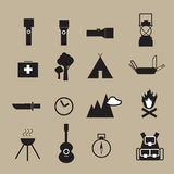 Camping outdoor adventure objects icons Stock Photos