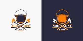 Camping and outdoor adventure retro logo. The emblem for cub scouts. Sign for the Hiking. Camping and outdoor adventure retro logo. The emblem for cub scouts Stock Images