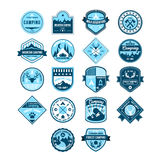 Camping and Outdoor Adventure Vintage Emblems. Camping and Outdoor Adventure Vintage Logos and Emblems, Vector Illustration Set Stock Photography