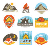 Camping Outdoor Adventures Logotypes Emblems Set Royalty Free Stock Photography
