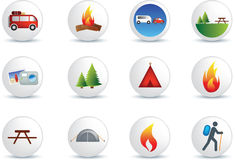 Camping and outdoor icon set. Camping and outdoor detailed colour illustration icon set Royalty Free Stock Photos