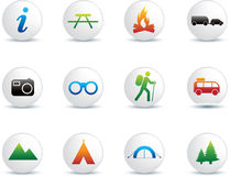 Camping and outdoor icon set stock illustration
