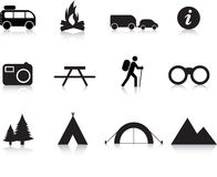 Camping and outdoor icon set Royalty Free Stock Photography