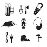 Camping, outdoor icons. Black and white camping icons Royalty Free Illustration