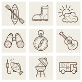 Camping and Outdoor Outline Icons. Set illustration Stock Photography