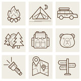 Camping and Outdoor Outline Icons. Set illustration Royalty Free Stock Photo
