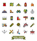 Camping and Outdoor Pursuits Filled Line Icon Set Stock Images
