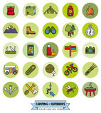Camping and Outdoor Pursuits Round Filled Line Icon Set Royalty Free Stock Photos
