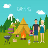 Camping and outdoor recreation concept with flat camping travel Stock Image