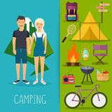 Camping and outdoor recreation concept with flat camping travel Royalty Free Stock Photo