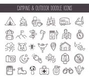 Camping and outdoor recreation doodle icons. Set. Cute hand drawn elements. Outlined icons isolated on white background. Vector illustration royalty free illustration