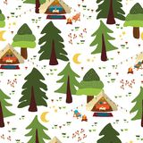 Camping outdoor scene seamless vector background. Glamping pattern. Boho tents at night in the forest. Trees, campfire, vacation. vector illustration
