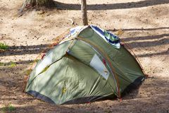 Camping outdoor with  tent in woods in summer Stock Image