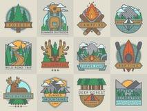 Camping outdoor tourist travel logo scout badges template emblems vector illustration set royalty free illustration
