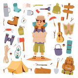 Camping outdoor travel tourist man holding map and vector sticker Royalty Free Stock Photos