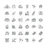 Camping and outdoor vector line icons set Royalty Free Stock Images