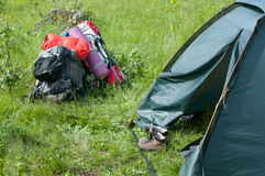 Camping outdoors Royalty Free Stock Photo