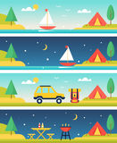 Camping and Outdoors Activities and Landscapes Vector Headers. Tents, Parking, Lake and Barbecue at Summer Camp. Flat Vector Headers Set stock illustration