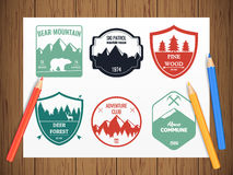 Camping and outdoors adventure vintage logos Stock Photography