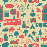 Camping outdoors hiking seamless. Pattern. Stock Images