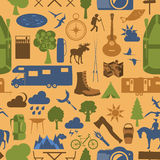 Camping outdoors hiking seamless. Pattern. Stock Photo