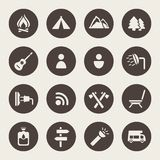 Camping and outdoors icons set.  Royalty Free Stock Image