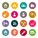 Camping and outdoors icons. Set vector illustration