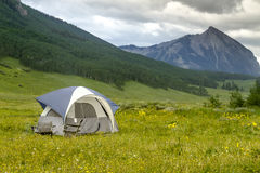 Camping Outdoors in the Mountains of Colorado. Small camping tent with chairs setup in mountain meadow filled with wildflowers with high mountain peak in Stock Images