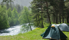 Camping outdoors Royalty Free Stock Photos