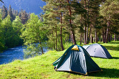 Camping outdoors Stock Photo