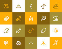 Camping and outdor icons. Flat style stock illustration