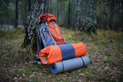 Camping outfit in nature. Outdoor camping Royalty Free Stock Photography