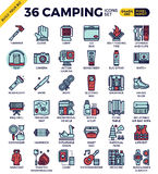 Camping outline icons Stock Photos