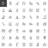 Camping outline icons set. Linear style symbols collection, line signs pack. vector graphics. Set includes icons as Logs, Pot on fire, Medicines, Meal, Kettle Stock Images