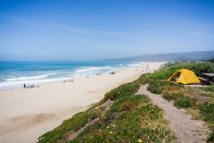 Camping on the Pacific Ocean coastal bluffs, Half Moon Bay, California Royalty Free Stock Image