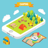 Camping in a park objects on mobile phone screen. Vector illustration in flat 3d style. Outdoor camp activity in a park. Stay online everywhere concept Stock Photos