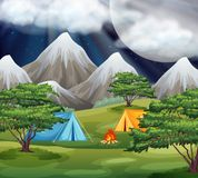 Camping in the park scene. Illustration stock illustration
