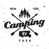 Camping park vector monochrome vintage emblem. Camping park vector monochrome emblem, label, badge, sticker or logo isolated on textured background stock illustration