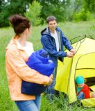 Camping in the park Stock Image