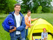 Camping in the park Royalty Free Stock Images