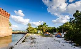 Camping - parque nacional seco de Tortugas imagenes de archivo