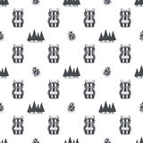 Camping pattern with backpack, trees and pine cone symbols. Adventure seamless wallpaper. Stock vector isolated on white. Background. Monochrome design Stock Photos