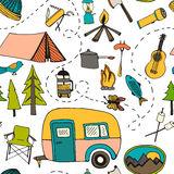 Camping pattern. Cute hand drawn seamless pattern with camping gear stock illustration