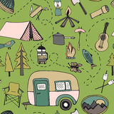 Camping pattern Stock Image