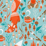 Camping Pattern. A fun camping pattern with a fox, campfire, coffee cup, and roasting marshmallows all accented by flowers, mushrooms and tribal patterns Royalty Free Stock Image